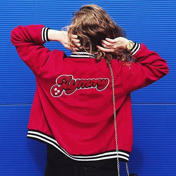 On Sale Hot Deal Sports Jacket Winter Women's Fashion Alphabet Patchwork Casual Baseball [83828932623]
