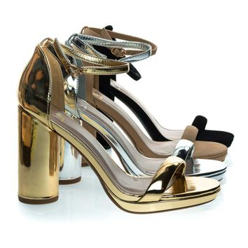 Eking Gold By Delicious, Chunky Rounded Block Heel Sandal w Platform