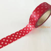 White Cross on red Washi Masking Tape Roll Adhesive Stickers WT87