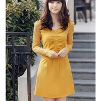 Lace Women Autumn New Style Korean Style Slim Long Sleeve V-neck Polyester Yellow Dress M/L/XL/XXL @WH0415y $20.99 only in eFexcity.com.