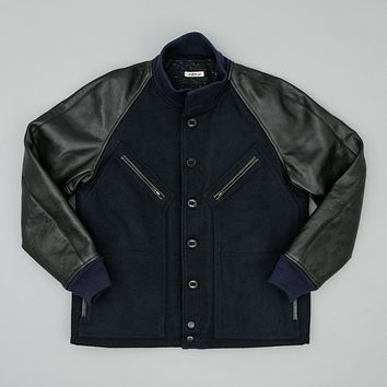 J-1 Letterman Jacket, Navy/Black