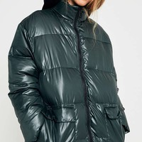Light Before Dark Green Wet Look Puffer Jacket | Urban Outfitters