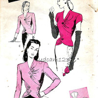 Vintage 1940s Fitted Blouse Pattern Tailored and Draped Seam Details Long or Short Sleeves Butterick 3143 Bust 32 UNCUT