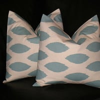 """Accent Pillows Decorative Home Decor Pillow Covers Spa BLUE 16 x 16 inch blue on natural IKAT 16"""""""