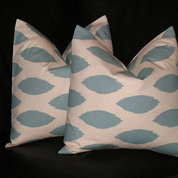 Accent Pillows Decorative Home Decor Pillow Covers Spa BLUE 16 x 16 inch blue on natural IKAT 16""