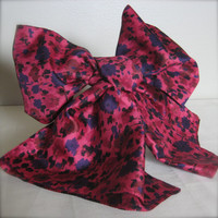 FREE SHIPPING Magenta Bow Scarf - Floral Print with Dark Purple