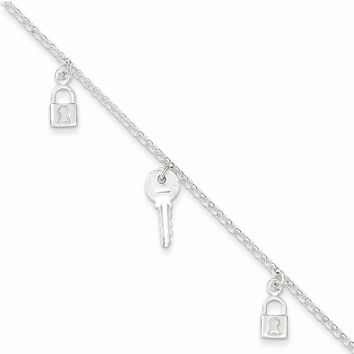 Sterling Silver 10inch Polished Lock & Key Anklet