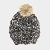 Women's Black Two Tone Cable Knit Fur Pom Pom Beanie Cap Hat