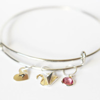 Hand Stamped Personalized Bangle Bracelet.Initial bracelet.Monogram bangle bracelet.Custom Bracelet.Paper swan bracelet.Personalized bangle