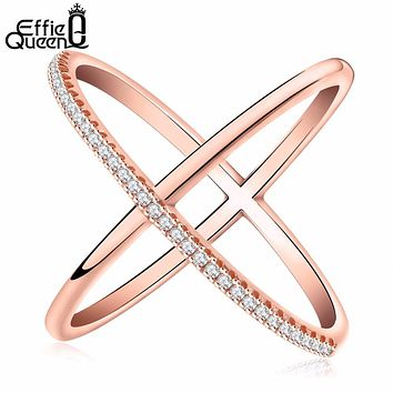 Effie Queen New Big Cross Zircon Ring Fashion Female Jewelry Infinity Sign Women Rose Gold Rings for Party free Shipping DR66