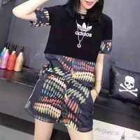 """Adidas"" Summer Women Casual Multicolor Stitching Print Short Sleeve Shorts Set Two-Piece Sportswear"