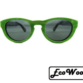 Different Colors, Skateboard Style Round Wooden Sunglasses, UV 400