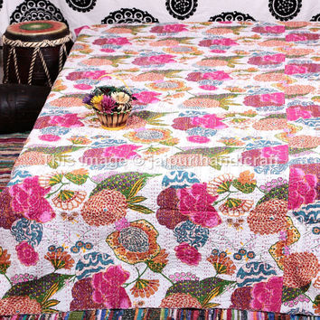 Tropical Kantha Quilt, White Queen Size Kantha Bedding, Fruit Print Bed Cover, Quilt Gudari Ralli Bedspread, Hand Stitch Reversible Quilt