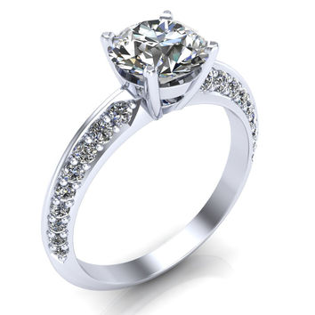 Cassia Forever Brilliant Charles & Colvard Moissanite Round Solid .950 Palladium Quad Diamond Shank Princess Ring