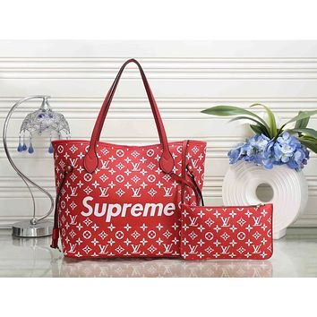 LV X Supreme Trending Women Stylish Leather Handbag Bag Cosmetic Bag Two Piece Set Red I-WMXB-PFSH