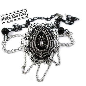 Spiderweb Gothic Necklace - Goth choker