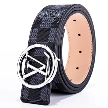 Louis Vuitton LV Fashion New Tartan Monogram Print Women Men Leisure Belt Width 3CM Black Tartan