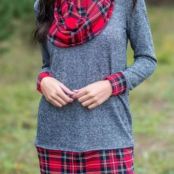 Gray Autumn Wind Plaid Cowl Neck Tunic Top