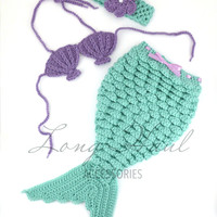 Crochet Mermaid, Purple, Teal, Mermaid Photography Prop, Newborn Photography, Baby Accessories, Baby Photo Shoot Outfit, Crochet Photography