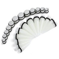BodyJ4You Gauges Kit 24 PiecesClear Glow-in-the-Dark Acrylic Tapers & Plugs 00G 12mm 14mm 16mm 18mm 20mm