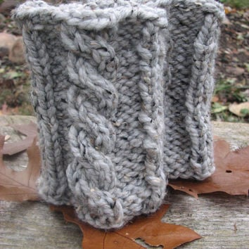 KNITTING PATTERN: Super chunky boot cuffs with cable.Easy first cable knit project.