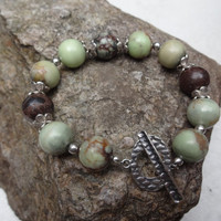 Beaded Bracelet, Chunky Bracelt, Green and Brown Bracelet, Yellow Bracelet