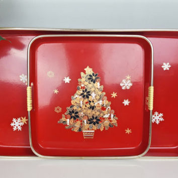 Vintage Christmas Tree Trays 1960s Tilso Japan Christmas Tree Serving Trays Set of 2 High Gloss Red Black Gold White Santa Christmas Decor