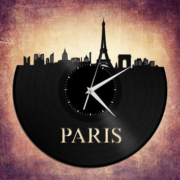 paris clock paris skyline paris wall art paris cityscape vin
