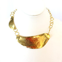 Gold asymmetrical collar, hammered brass bib, brass tribal necklace, gift under 40