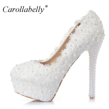 Sweet Flower Women Pumps High Heels Lace Platform Pearls rhinestone Wedding Shoes Bride Dress Shoes all heel height can make