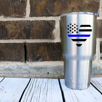 Back The Blue Police Lives Matter Decal - Police Heart - Police Wife - Back the Blue - Blue Lives Matter - Police - Police Week - Decal