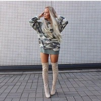 Womens Modern Camo Casual Pullover Sweater