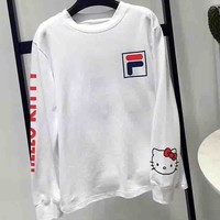 FILA X Sanrio Uo Hello Kitty Stylish Cute Long Sleeve Round Collar Sweater Pullover Top I-G-JGYF