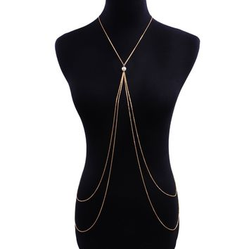Faux Pearl Detail Layered Body Chain