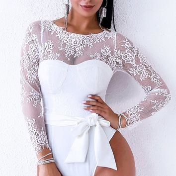 Sultry And Sweet White Sheer Lace Long Sleeve Bustier Bow Belt Bodysuit Top