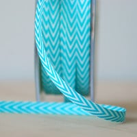 "Aqua and White Chevron Twill Tape .25"" Ribbon 5 Yards Gift Wrap Scrapbook Sewing Notion"