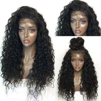 Female Fashion Long Curly Lace Frontal Synthetic Wig Full Wig Corn Wave Wig for Black