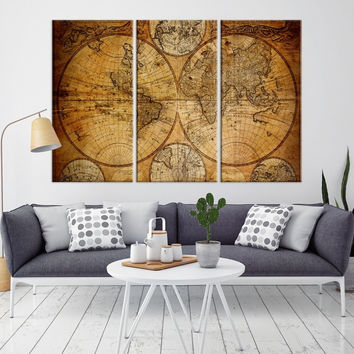 50258 - Large Wall Art Antique World Map Canvas Print - Atlas World Map Wall Art Print