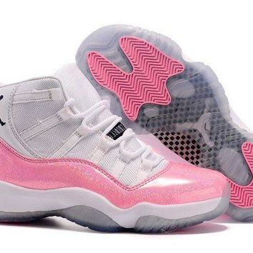 PEAPVX Jacklish Air Jordan 11 Gs Custom White And Pink 11s Girls 4c8a28af0
