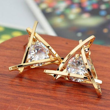 Women Lady Elegant Triangle Crystal Rhinestone Ear Stud Earrings + Gift Box