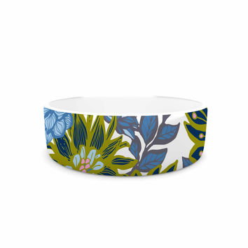 "Amy Reber ""Blue Dahlias"" Green Floral Pet Bowl"