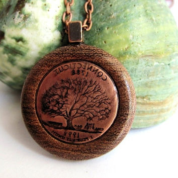 Wood Necklace, Copper Connecticut Charter Oak Tree, 1999 Quarter Pendant, Eco-Friendly Wooden Jewelry by Hendywood