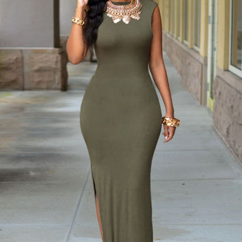Army Green Slit Sexy Maxi Dress