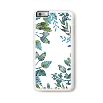 Illustrated botanical green and blue boarder on white for iPhone 6 Plus