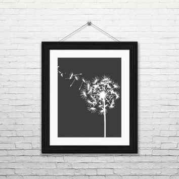 Dandelion, 8x10 digital download, print, home decor, modern, instant print, printable wall art, make a wish, black and white, flower, gift