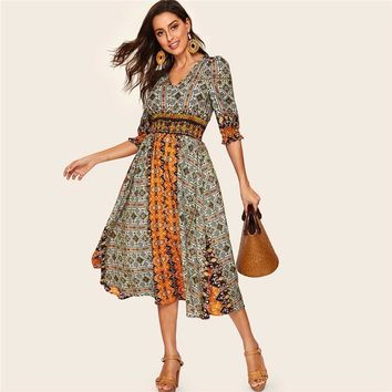 Tribal Print Shirred Detail Dress Women Bohemian V Neck Puff Sleeve Half Sleeve High Waist Dresses