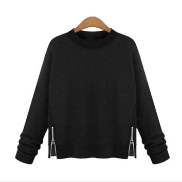 Hot long sleeve zipper open sides round neck sweater