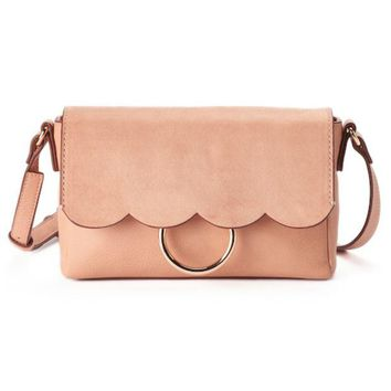 DCCKX8J LC Lauren Conrad Poesie Scalloped Flap Crossbody Bag