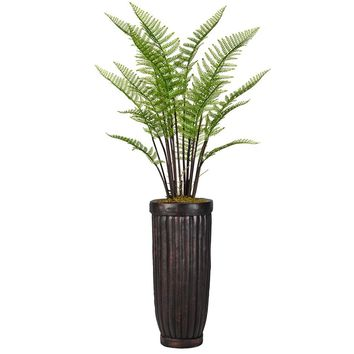"63"" Artificial Fern Plant Indoor/ Outdoor with Burlap Kit in 29"" Black/ Bronze Fiberstone Planter"