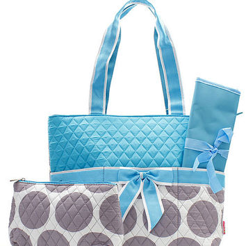 AQUA Monogrammed Quilted 3 Piece Polka Dot Embroidered Diaper Bag Great Shower Gift Idea Peraonalized Boy Girl PERSONALIZED